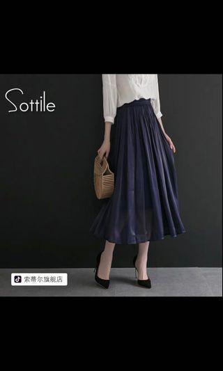 光面雪紡藍色長裙