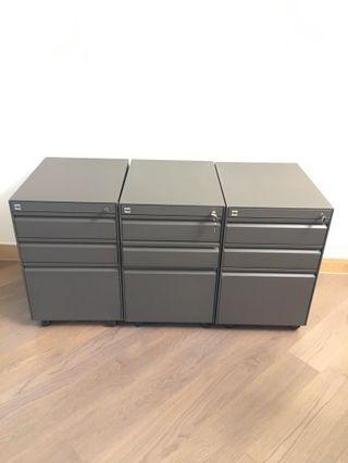 POSH 科譽 辦公室三層不銹鋼有轆文件櫃