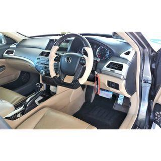 2008 TO 2012 HONDA ACCORD 8TH GEN CUSTOM HAND MADE FROM RECON STEERING WITH GENUINE CARBON FIBER & LEATHER  STEERING WHEEL..LEATHER COLOR MATCHING BEIGE OR BLACK AVAILABLE.. PRE-ORDER ..INCLUDE INSTALLATION