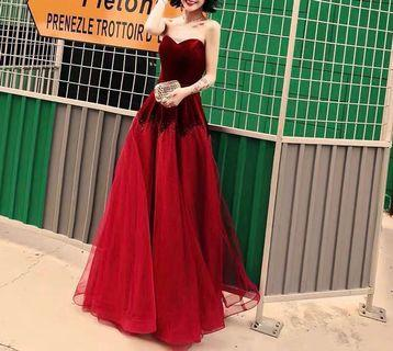💯99%new: Wedding gown evening red dress