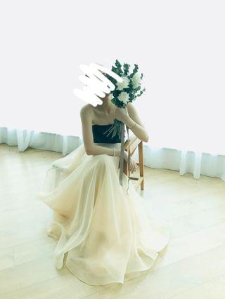 99%new: tailor-made wedding down tube dress gown
