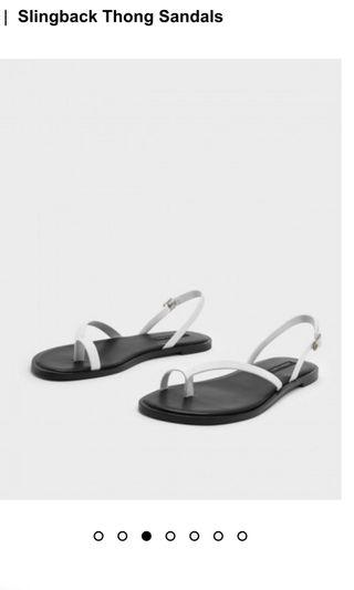 🚚 Charles And Keith white slingback thong sandals