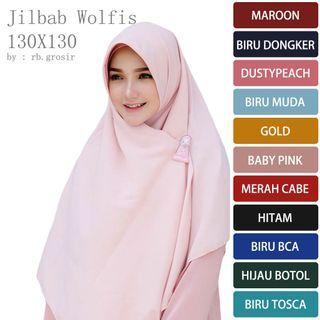 hijab segi empat syari wolfis 130x130 jumbo grade original