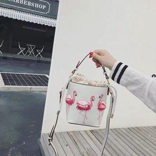 Flamingo Leather Bucket Bag