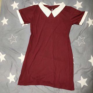 🚚 Ulzzang Maroon Shift Dress #EndgameYourExcess