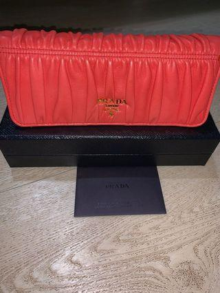 Prada Nappa Gauffre Leather Long Fold Wallet-Orange