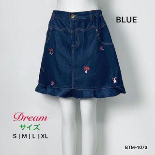 Japan DR 蘑菇繡花牛仔裙褲