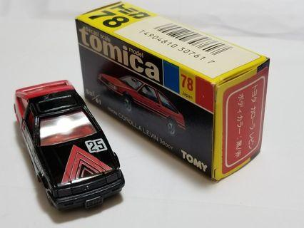 Tomica Toyota Corolla Levin No 78 made in Japsn