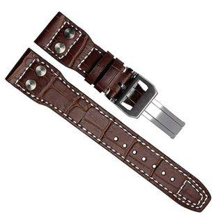 BN high quality genuine leather pilot strap 22mm with silver plated clasp for IWC and others