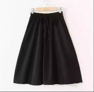 Women linen skirt black