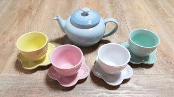 🎀Le Creuset 茶壺連茶隔,四茶杯 Teapot & Teacup set 靚色
