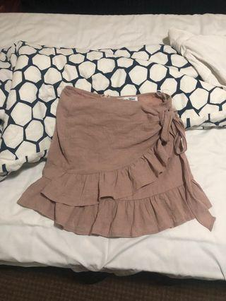 Pink tie up frill skirt