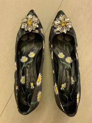 Dolce & Gabbana Black satin flower shoes with crystal