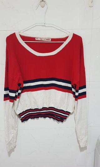 🚚 降價紅白藍相間長袖針織衫