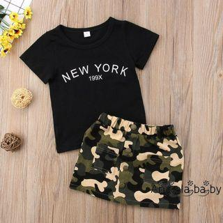 🚚 Instock Toddler Baby Kids Short Sleeve Tops T-Shirt Skirt Outfit Dress Set Size.6M-3Y 🚚 Free Mail
