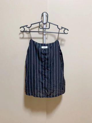 Black and White Striped Chiffon Camisole