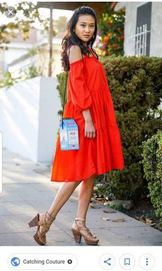 H&M tomato red cold shoulder dress