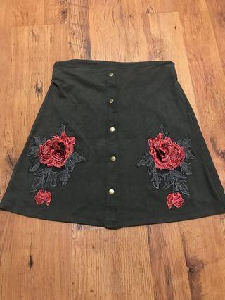Byer California A-Line Suede Skirt with Patches