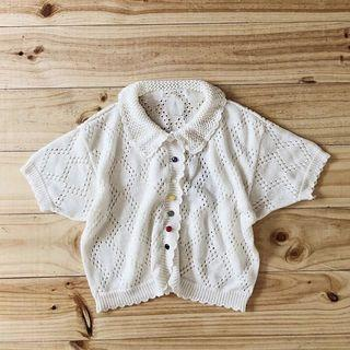 🚚 徵!!!A room model白色針織短袖上衣