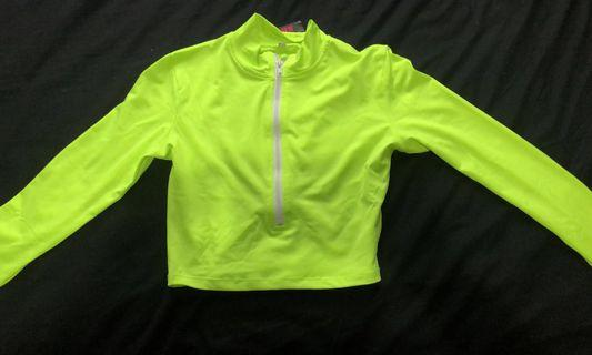 Neon Cropped Zip Up