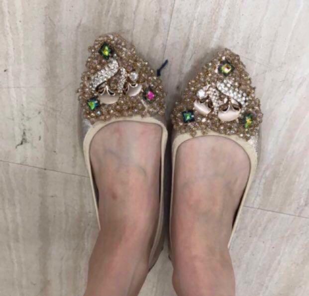 水讚尖頭平底鞋36=23cm