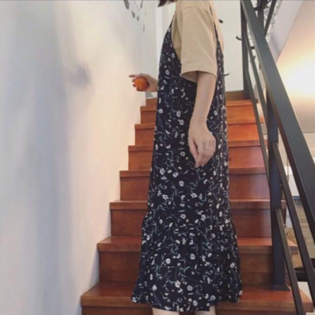 藍色 碎花洋裝