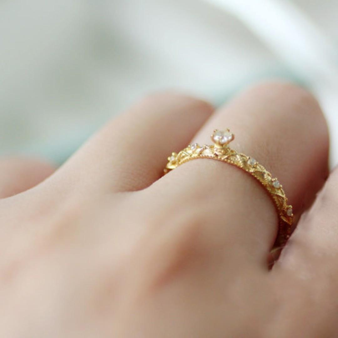 復古浮雕巴洛克六爪鑲鑽戒指 925銀鍍18K金皇冠藤蔓 雕花鑽戒
