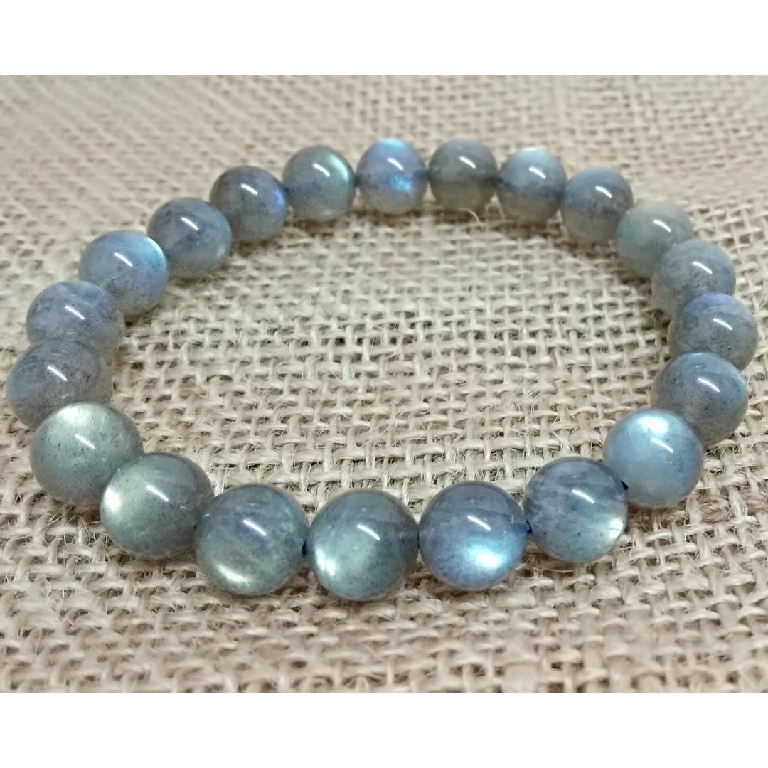天然水晶 藍光拉長石手串 10mm