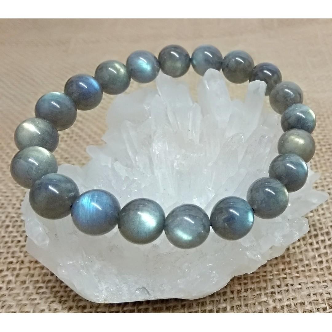天然水晶 藍光拉長石手串 11mm