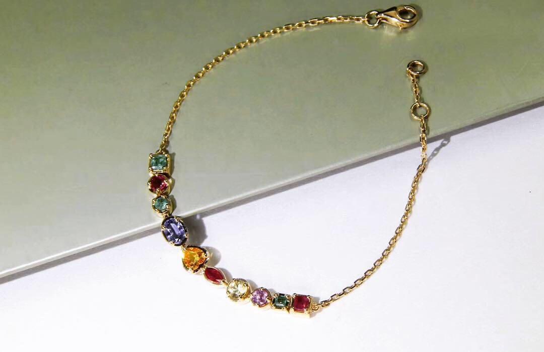 天然彩色寶石手鏈 紅寶石 綠寶石 藍寶石 18k金 全新 生日禮物 母親節禮物 收藏