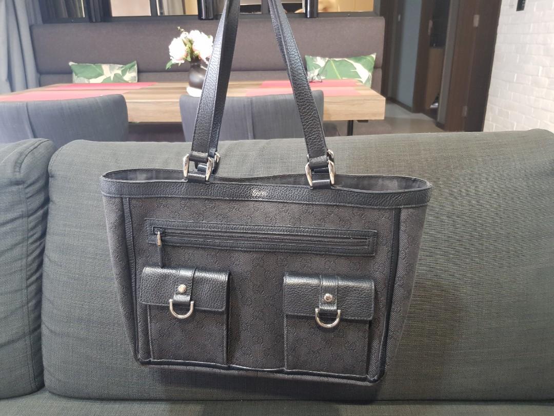 fb1b3a1b95ddc4 💯Authentic GUCCI 268639 GG Guccissima Canvas Abbey Pocket Black ...