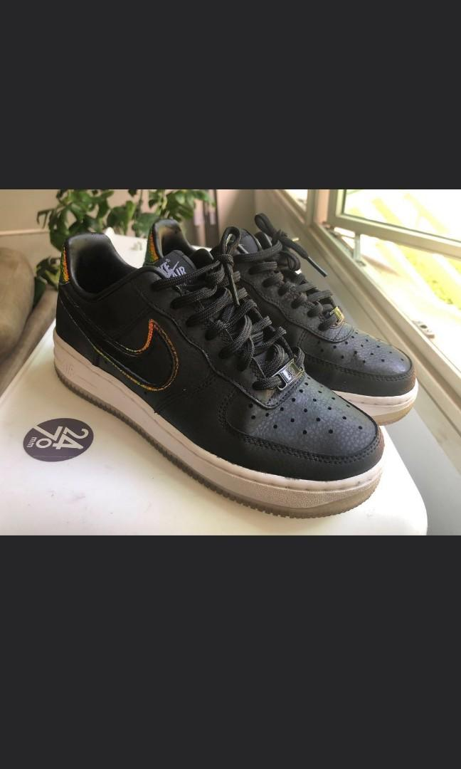 Authentic Nike Limited Edition Air Force 1 Black Leather Iridescent Sneakers trainers sports shoes