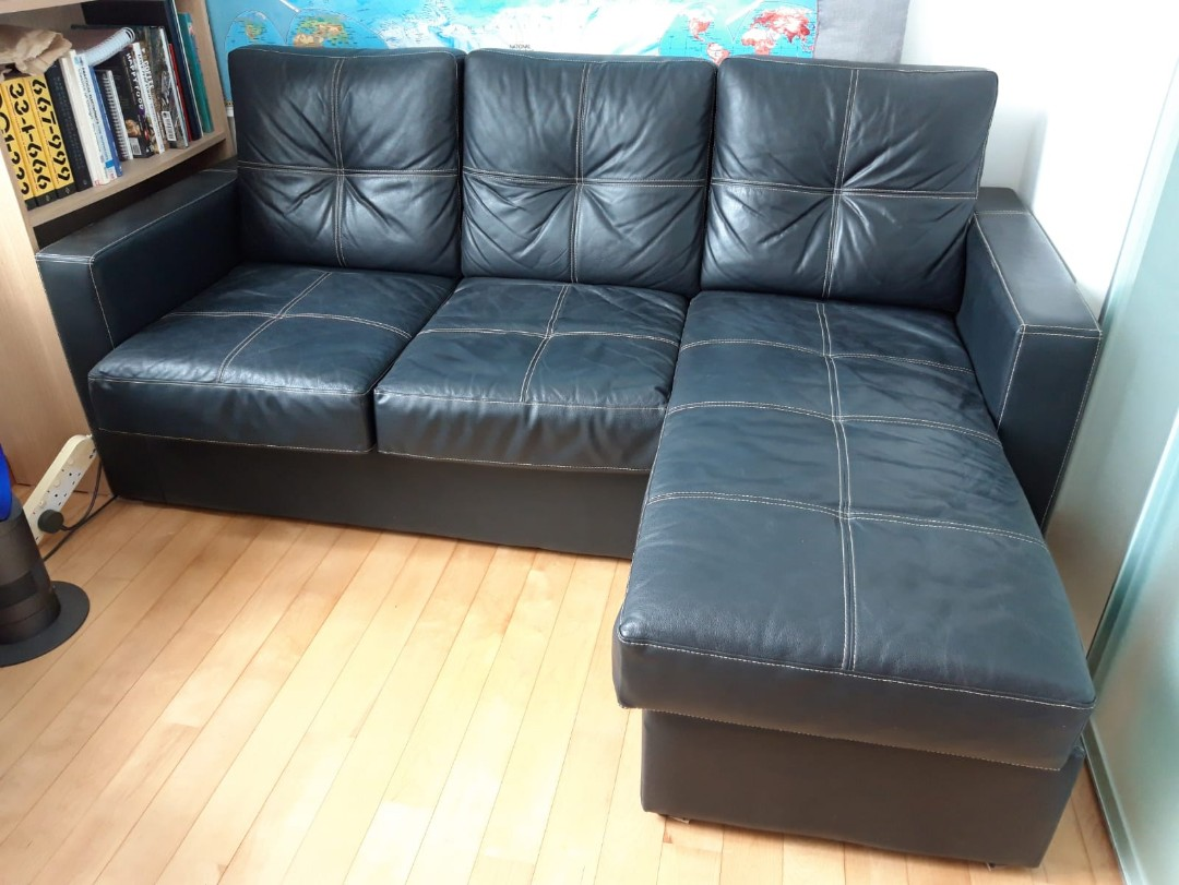 Black L-Shaped Sofa Leather Effect