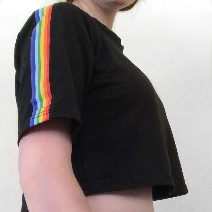black rainbow crop top
