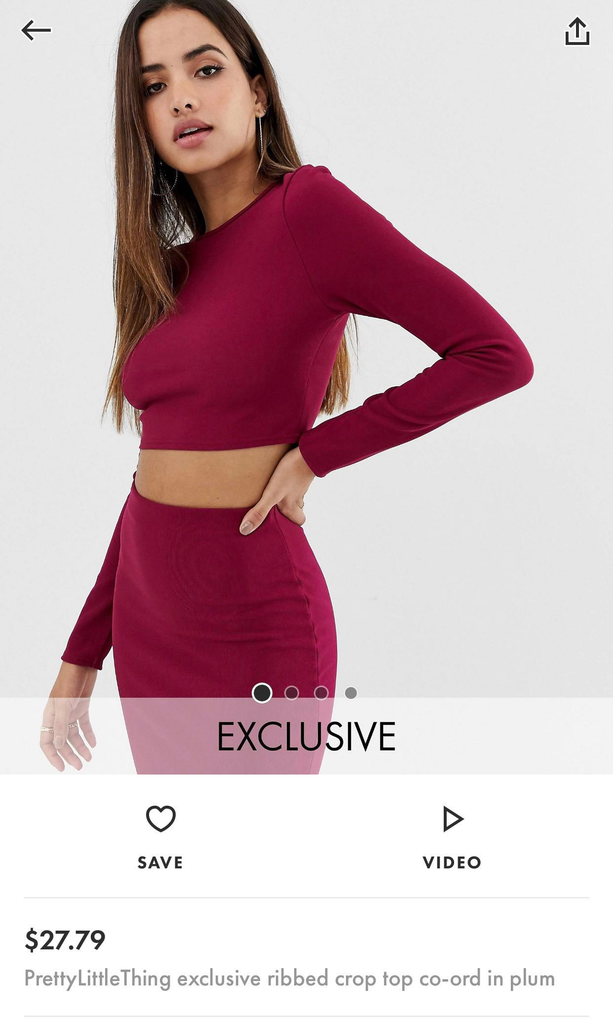 102d0b39bc889 [BNIP] ASOS Exclusive PrettyLittleThing Co-ord Ribbed Crop Top in Plum,  Women's Fashion, Clothes, Tops on Carousell