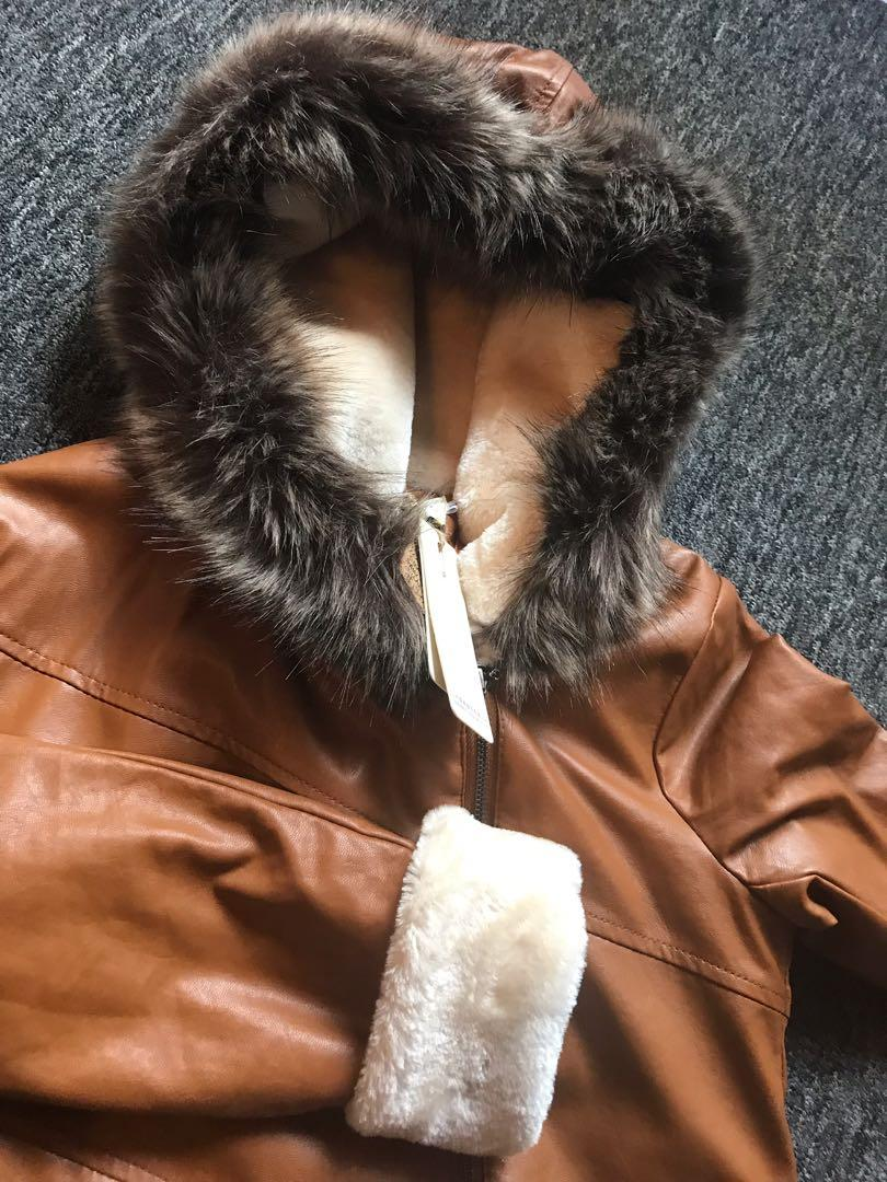Brand New Vegan Leather Faux Shearling Lined Faux Fur Collar Hooded Long Coat Size 2-4