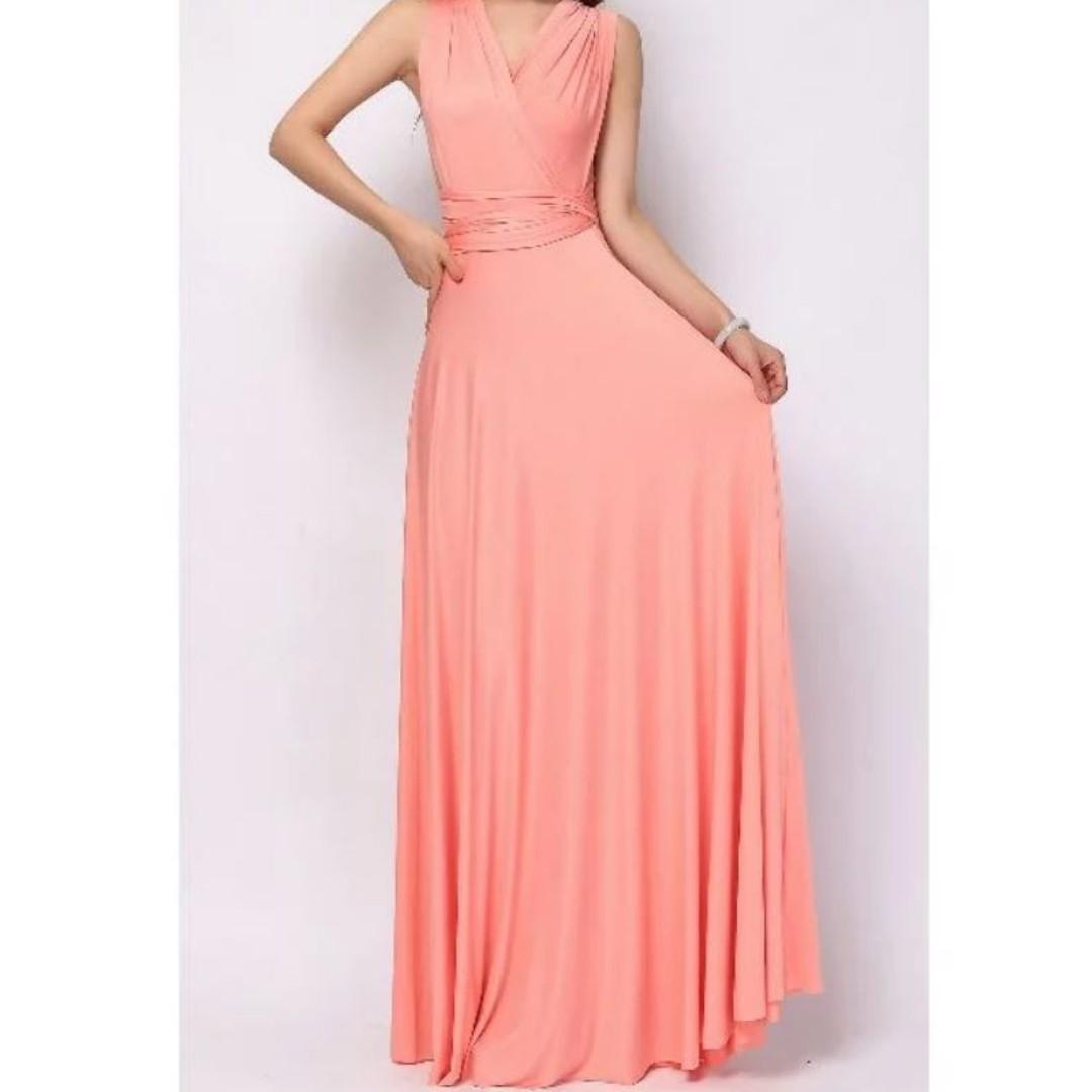 Coral Pink Infinity Dress - with inner tube (high quality)
