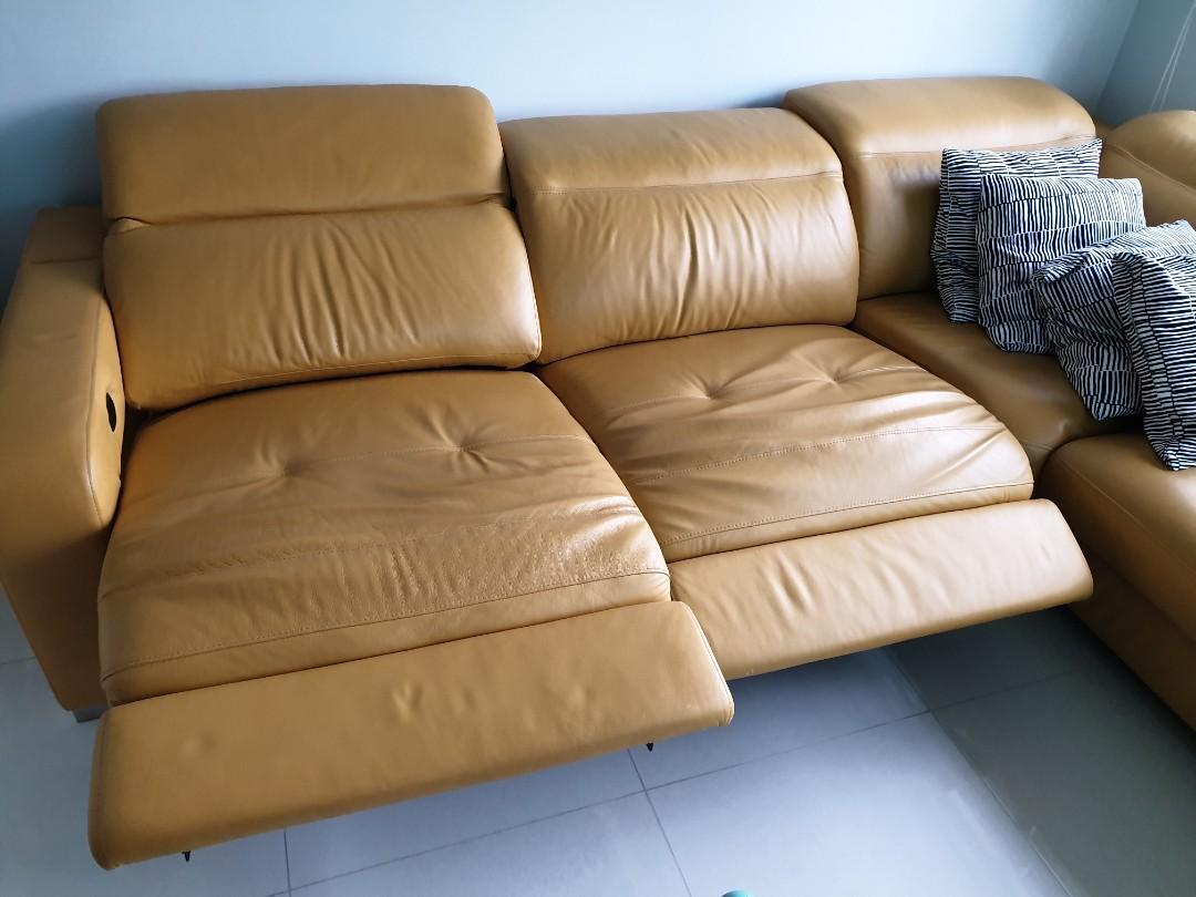 Cosimo Full Leather L Shaped Sofa (Still in warranty)