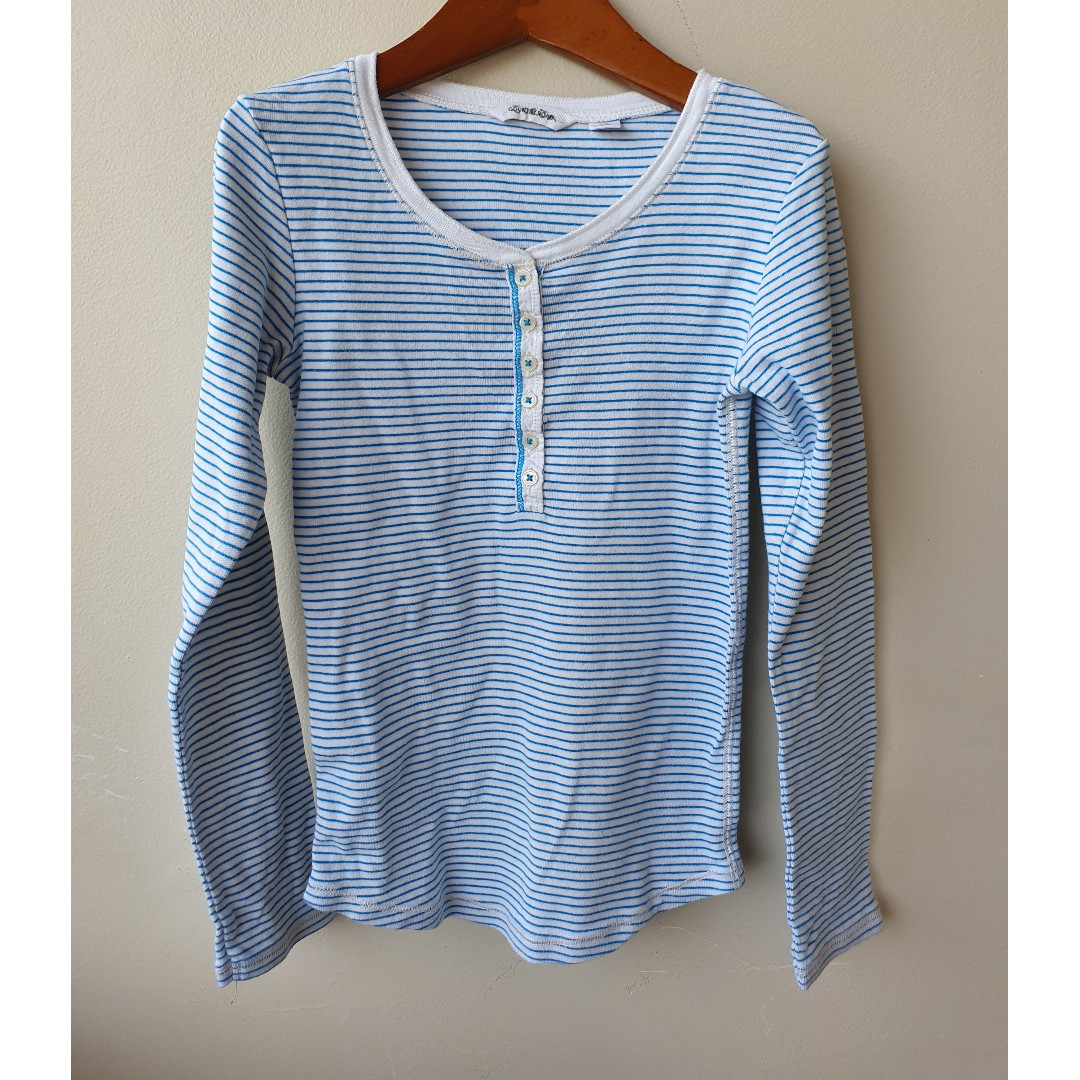 COUNTRY ROAD Girls Striped Henley Top Sz 10