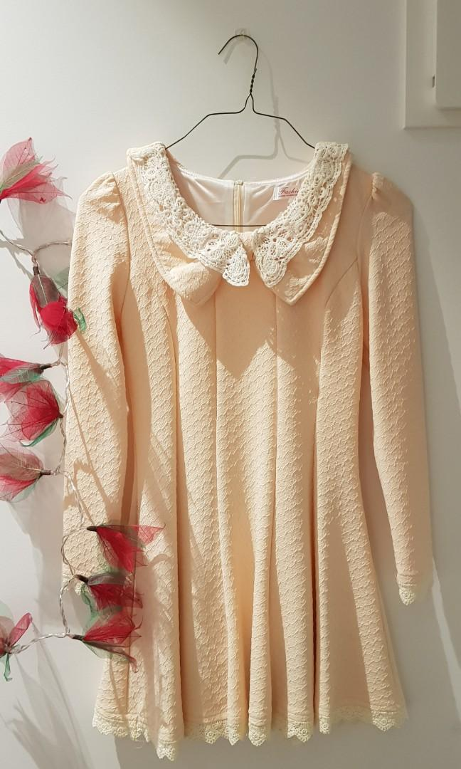 Cute Dress in Beige (suitable as autumn and winter wear)