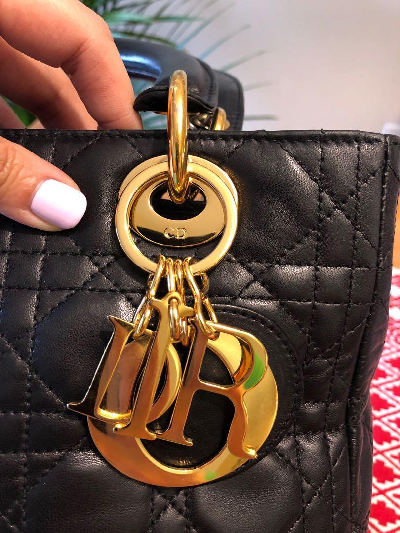 DIOR - Medium Vintage Black Lady Dior in Lambskin with Gold Hardware