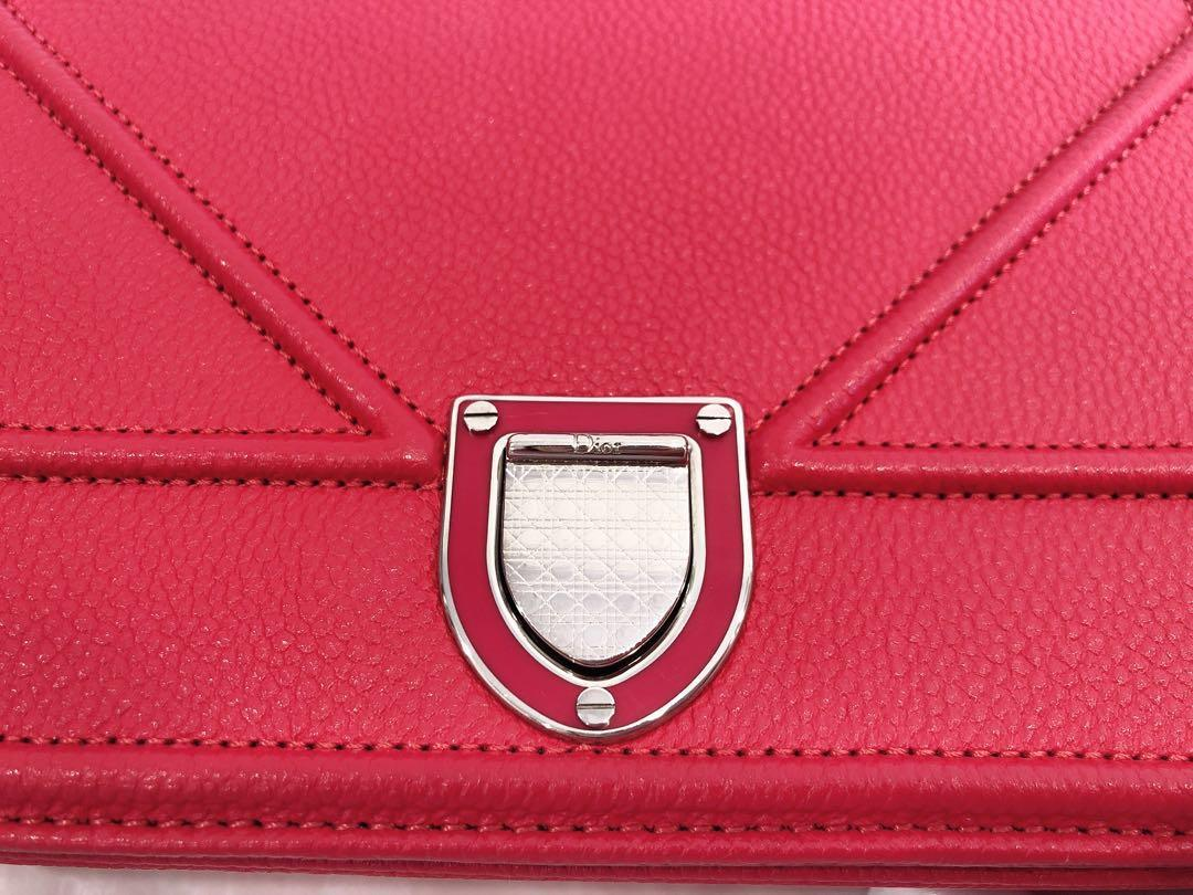 Dior Diorama Bag in small Red colour Silver HW Grained Calf Leather