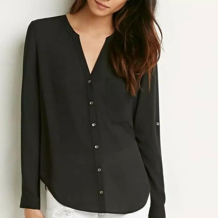 Forever21 Blouse Black Shirt Woman Kemeja Hitam Wanita