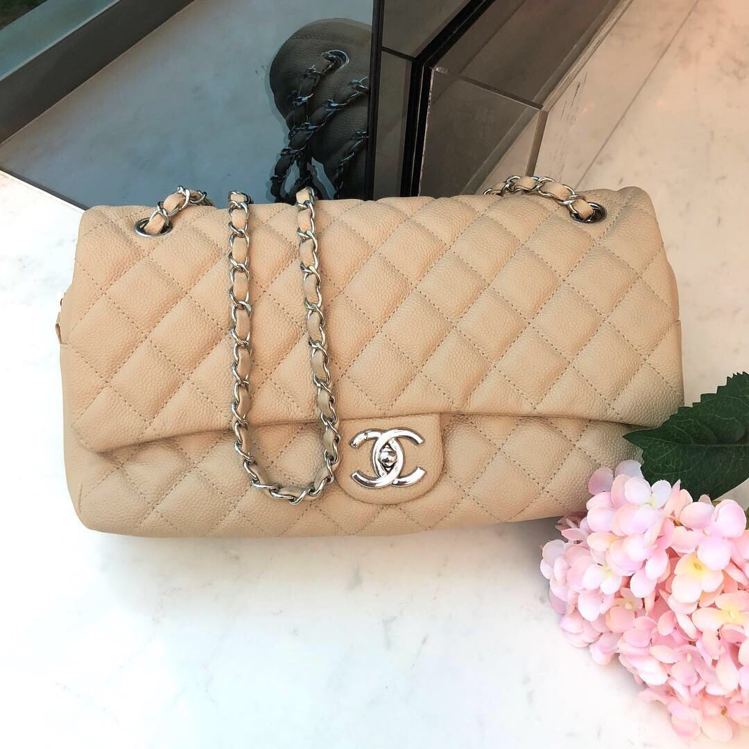 86a54008b1a6 Full Set with Receipt! Chanel Easy Flap in Beige Caviar SHW, Luxury, Bags &  Wallets, Handbags on Carousell