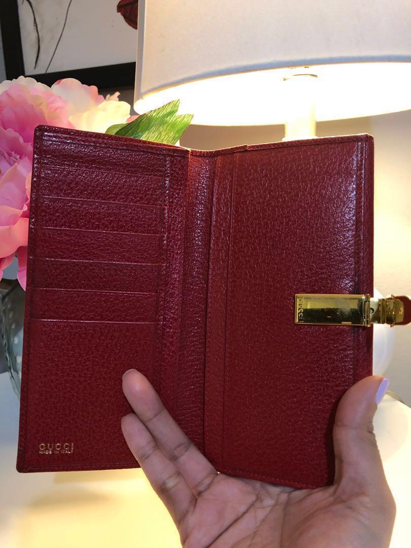 GUCCI Red Leather Long Wallet with Gold Hardware