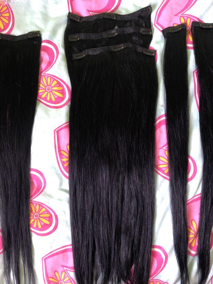 Jet Black Clip in HUMAN REMY Hair extensions 24inch