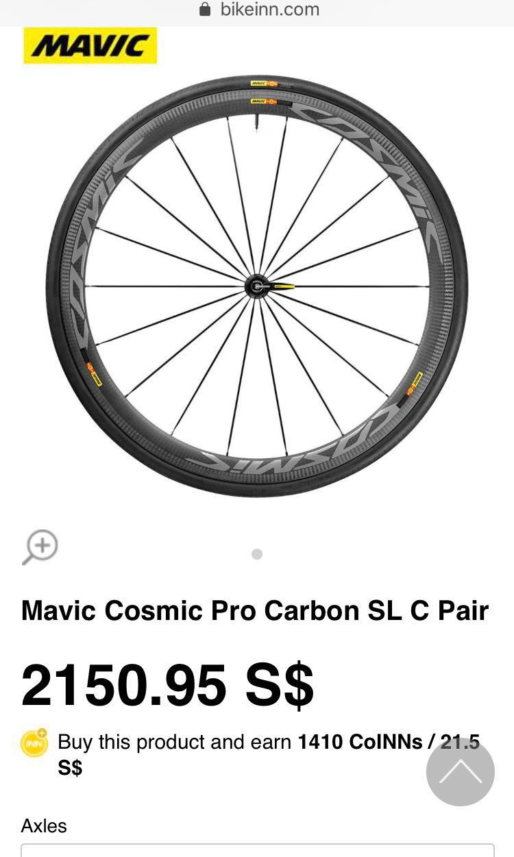 2e01b29a1a1 Mavic Cosmic Pro Carbon SL C Wheelset, Bicycles & PMDs, Bicycles, Road  Bikes on Carousell
