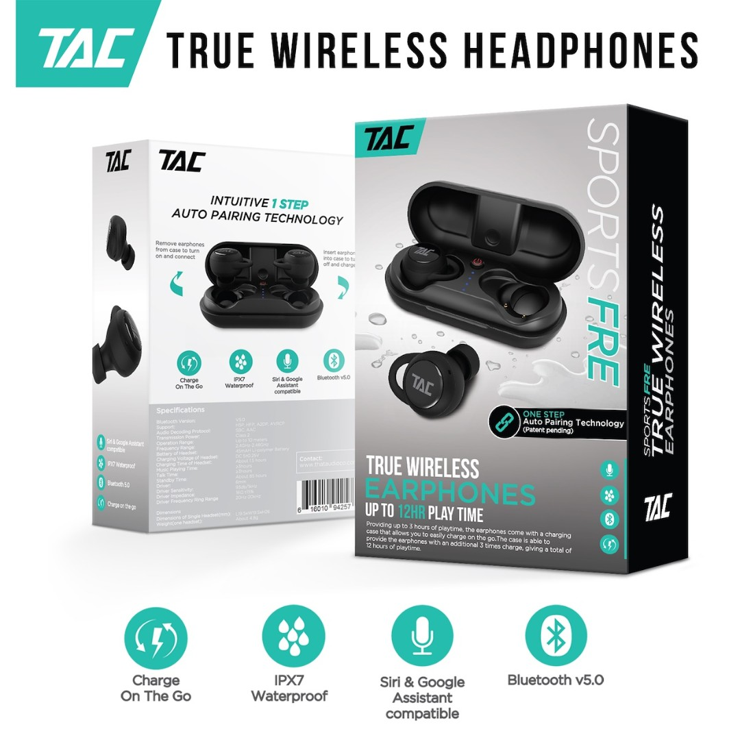 [NEW] TAC True Wireless SportsFre Earphones IPX7 Waterproof Airpods Style  Auto-Connect Technology