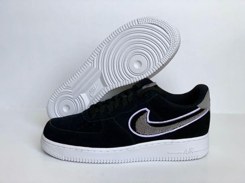 Nike Air Force 1 Low 3D Chenille Swoosh Black Cool Grey