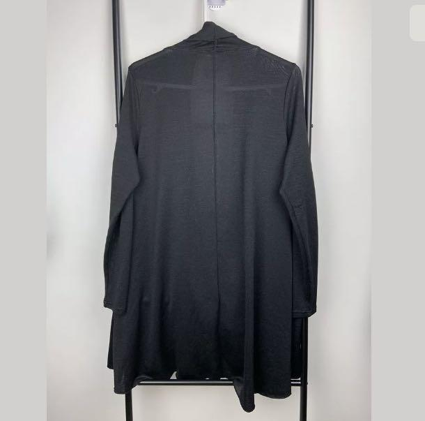 Now sz 18 black basic knit open drape cardigan jacket tunic winter plus size